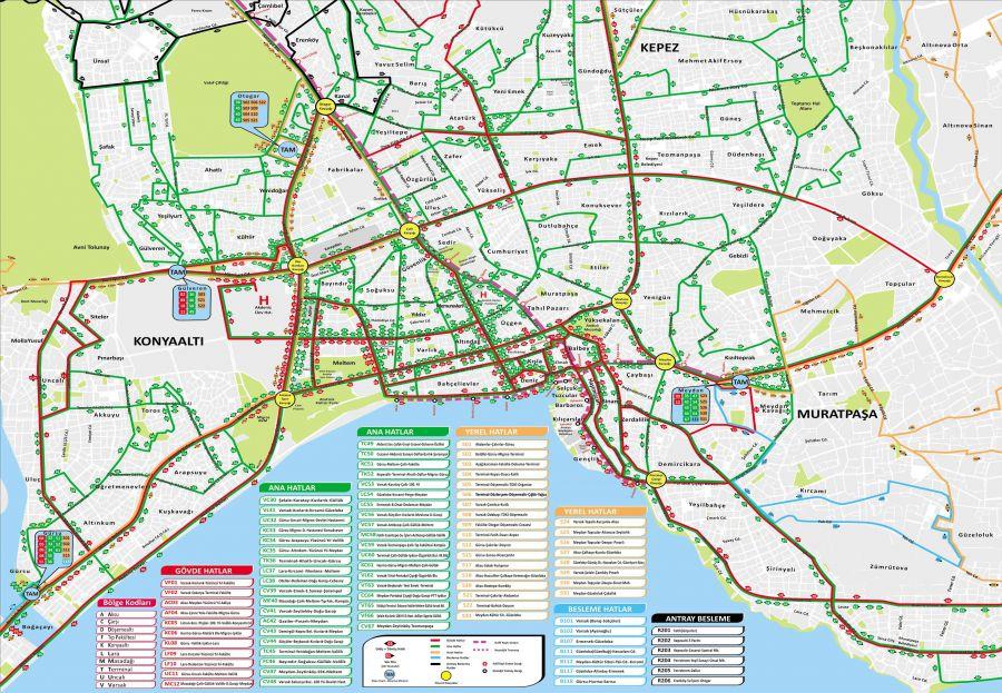 Анталия остановки общественного транспорта карта