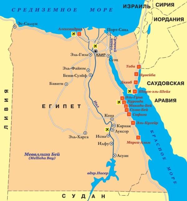 климатическая карта Египта